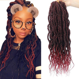 18 Inch Wavy Senegalese Twist Crochet Braids Hair Ombre Pre-looped Twist Braids Goddess Senegal Twist Braiding Hair with Curly Ends
