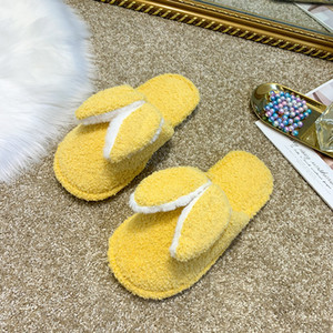 Yeni Kadın Kış Daire Sweet Home Terlik Kapalı Kürk Bunny Ears Sonbahar Kadın Kısa Peluş Ayakkabı üzerinde Yumuşak Slip, Isınma