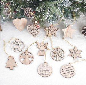 Arbre de Noël Ornement Pendentif flocon de neige de Noël en bois laser Sculpté en bois creux Petit pendentif exquis Décorations de Noël LSK1453