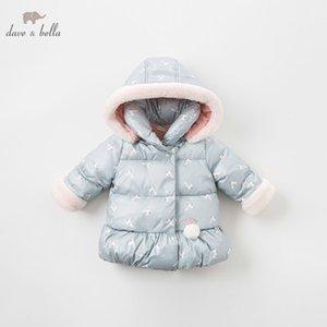 DBM8186 Dave Bella Baby Girls Куртка Детские Детские Рукава Верхняя одежда Мода Кролик Пальто LJ201125