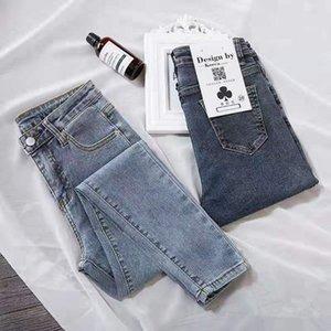 Pantaloni blu CELEB Shijia Donna Denim Jeans a vita alta Vintage matita per la donna 2019 della molla di autunno Jean Femminile Fidanzato Stile C1009