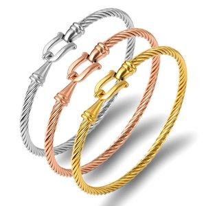 Bracelets bracelets de manchette de mode bracelets pour femmes couleur doré couleur en acier inoxydable fil mince bracelets de corde de corde