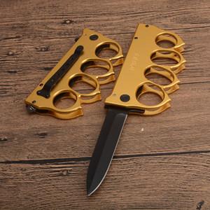 US1918 Gold Knuckle Sopravvivenza Pieghevole Blade Blade Coltello 440C Black Drop Punti Blade in lega di alluminio Maniglia tattica coltelli tattici con scatola al minuto