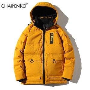 الدافئة Chaifenko العلامة التجارية الشتاء أسفل صامد للريح سميكة مقنع سترة ستر أزياء الخريف الشارع الشهير الرجال معطف عادية