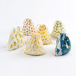 Freedhlchristmas Geschenk Tasche Baumwolle Leinen Leinwand Kordelzug Sack Taschen mit Weihnachtsbanane Kokosnuss Wassermelone Ananas Fruit für Geschenke AAD2725