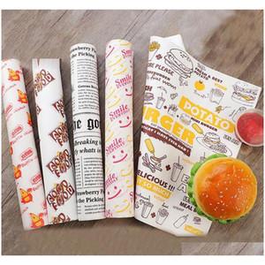 100 PCS Papel de cera à prova de óleo para alimentos wrapper Pão de papel sanduíche hambúrguer batatas fritas envolvendo ferramentas de cozimento fast food personalizado fornecimento bt6bb
