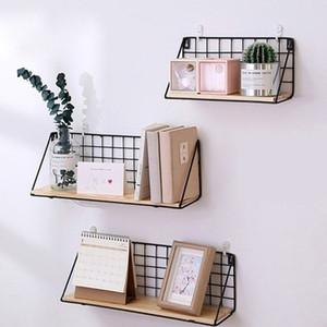 Metal Wall Shelf No punching Mounted Storage Rack for Bedside bedroom wall Shelf Hanging basket shelves for wall C1003