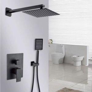 Black Shower Set Bathroom 8 inch Rain Shower Head Faucet Shower System Spout Diverter Mixer Handheld Spray