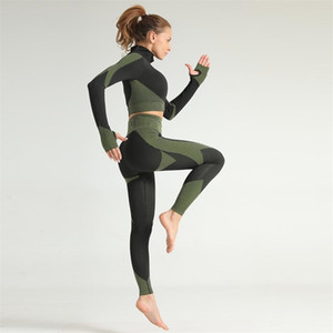 New Seamless Yoga Set Womens Gym Sports Suit High-waist Running Leggings Fitness Shirts Workout Sportswear Clothing 2pcs Y200904
