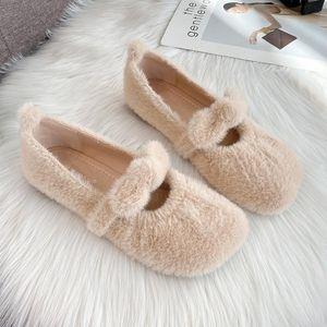 Chaussures femme Automne 2020 Nouv Bas Chaussures Fluffy Bas Vêtements d'extérieur femmes Velvet Flat Lazy Mocassins Moccasin