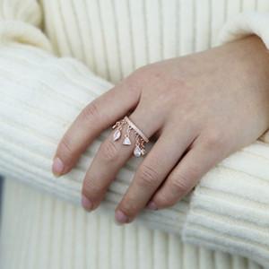 Fashion Tear Drop Multi Cz Pendant Princess Tassle Rings Jewelry for Women Girls Rose Gold Color Trendy Midi Finger Wedding Gift