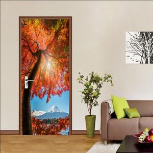 Autumn Maple Leaves Door Sticker Wallpaper Beauty Scenery Waterproof Self-adhesive Doors Stickers for Living Room Bedroom Decor