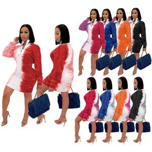 Kadınlar Elbise Tasarımcı Büyük Boyut Batik Moda Sokak Moda Baskılı Fermuar Dik Yaka Bayan Yeni Sonbahar Kış Etek