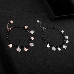 Multi Crystal Four Clover Charms Bracelet For Women Rose Gold Stainless Steel Lucky Clover Bracelet Fashion Jewelry Gifts NEW