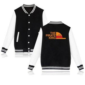 Мужские толстовки толстовки зимняя куртка мужчины аниме один кусок капюшон японская уличная одежда Пиратский король Luffy колледж бейсбольная форма Hara