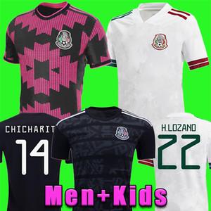 맨 멕시코 축구 유니폼 홈 멀리 Camisetas 20 21 Chicharito Lozano Dos Santos 2020 2021 축구 셔츠 남성 + 키트 유니폼 Maillots