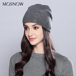 MOSNOW donna Cappelli invernali Lana Strass 2020 doppio strato con spessore di autunno di modo lavorato a maglia Cappello femminile Skullies Berretti Cap # MZ723