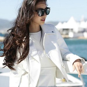 2020 New Women Autumn Motorcycle Fake Faux Leather Jackets Lady Black White Biker PU Zipper Street Outerwear Coats with Belt