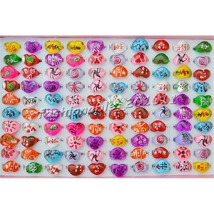 Children 100 pcs Resin Lucite Mixed Rings Lot Fashion Christmas Gift Jewellery Lovely Kid's Rings [R0280*100]
