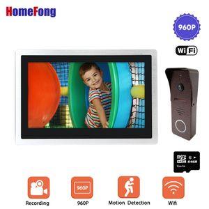 HomeFong 10 Polegada Vídeo Sem Fio Doorbell Wifi Porta de Vídeo Doorbell 32GB / 64GB Cartão Remoto Desbloquear Talk Motion Alarme