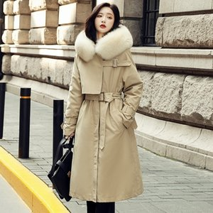 Janveny Natural Fox Fur Collar Hooded Women's Down Jacket White Duck Down Coat Female Parkas Overcoat Feather Puffy Outwear Y201001