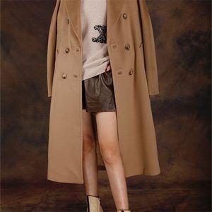 Obrix Cashmere Camelo Lã Na moda Estilo Casual Estilo Casual Feminino Duplo Breasted V-Neck Streetwear Casaco para Mulheres 201224