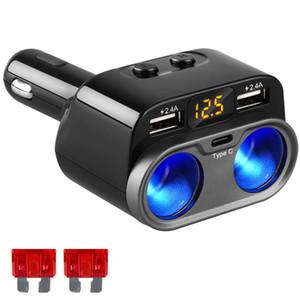 Adaptador de cigarrillo del encendedor de cigarrillos del coche 12V 24V 80W Cargador de coche 2 enchufes tipo C 4.8A 2 Puertos USB Cargadores