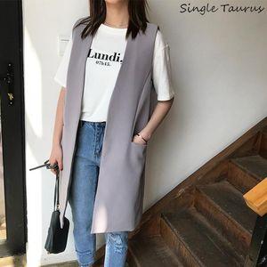 Korean Open Stitch Simple Women Coat Vests V-neck Fashion Office Lady Chalecos Para Mujer Grey Black Pockets Colete Feminino