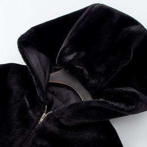 Rosetic Winter Faux Fur Jacket Women Short Coat Warmness Fashion Gothic Casual Black Jackets Hooded Outwear Oversize Coats 201014