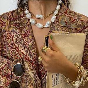 2Pcs / Set Barock Unregelmäßige simulierte Perlen Statement Halskette böhmische Sommer-Ferien-Strand-elegante Perlenhalsband Partei Schmuck für Frauen