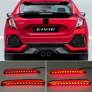 2PCS For Honda Civic Type R 2016 2017 2018 2019 2020 LED Rear Bumper Fog Lamp Brake Light Dynamic Turn Signal Reflector