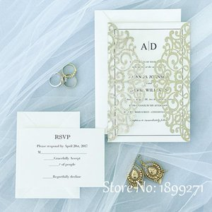 Promotional White flowers laser cut wedding invitation card(100pcs)