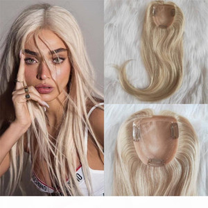 Blonde Hair Topper Virgin European Human Hair 10x11cm Mono Base 60 color Clip in Hair Pieces 130% Density Toupee for Women