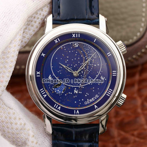 Top Quality 43mm Grand Complicações Celestial Moscou Sky Lua Cal.240 Mens Automático Assista 5102G-001 Azul Dial Couro Strap Gents Relógios