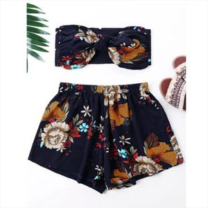 Feitong 2PCS Fashion Womens Set Sexy Bow Floral Printed Off Shoulder Tank Top Vest Wide Leg Shorts Sets Summer Female Set