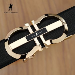 Williampolo homens moda lazer tendência versátil cabeça calças de couro cinto jovens