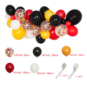red yellow black Baby Shower Balloon Party Garland Arch Birthday Party Background Ballons Strip Chain for Wedding Decorations 1027