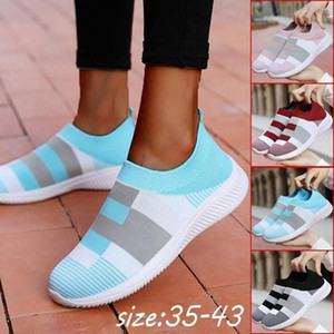 Women Casual Lofers Lazy Shoes Flat Sport Shoes Knit Sock Running Shoes Mesh Breathable Trainers Outdoors Zapatos Mujer Loafers #do3T