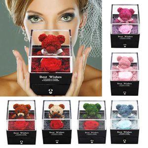 Hot 2021 Valentines Teddy Bear Preserved Flower Jewelry Box Preservation Rose Cross-border Valentine's Day Birthday Gift