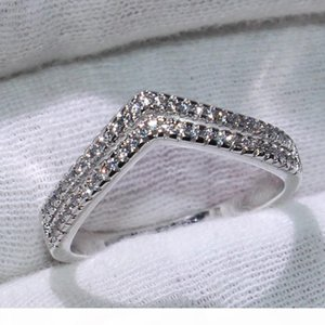 Double V Style Cute Luxury Jewelry 925 Sterling Silver Pave White Sapphire CZ Diamond Party New Female Wedding Band Ring For Lovers' Gi
