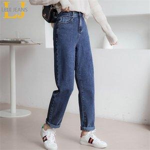 Leijijeans новый стиль синие высокие талии дамы парня джинсов женские гарема джинсы маленькие брюки ног 210203