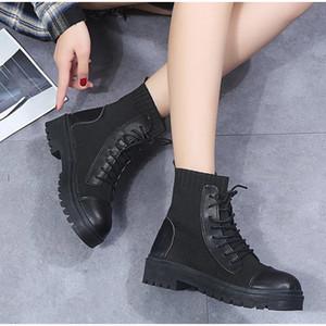 2021 Mujeres Botas de tobillo Zapatos de estiramiento Moda Punto de punto PU Lace Up Plaform Plus Tamaño Confort Nuevo Calzado de otoño Ckmn