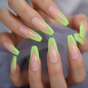 New Arrival Long Coffin Fake Nail Green Full Cover Acrylic Press On Nails Triangle Design Decoration Artificial Tips