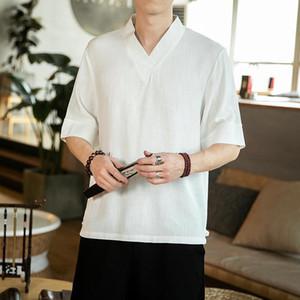 M-5XL Traditional Chineese Style Linen T-Shirt Men Short Sleeve Streetwear Vintage Blouse Male V-Neck Summer Shirt Man XXXXXL