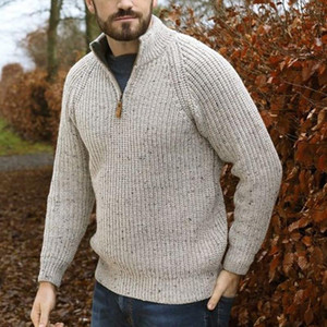 Hommes Automne Pullovers Pull Grand Taille Tops High Collier à manches longues à manches longues Self-Culture Skinny Hommes Knit Pullover