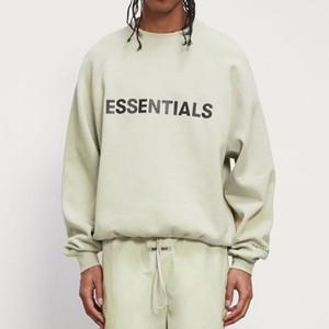 20SS Novas cores sábio essencial FG carta verde Impresso oversize mangas compridas Fashion Street Casual Pullover OS camisola do hoodie