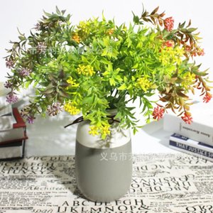 fang yun Simulated Green Plants Plant Wall Decoration Flower Arrangement Spray Color Five Fork Jade Material Auspicious Gras