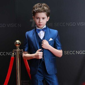 Fashion Kids Formal Wear Little Boys Suits Children Attire Wedding Blazer Boy Birthday Party Jacket Pants Suit (Jacket+Pants+Vest)
