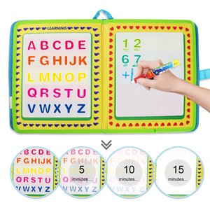 Portable Water Drawing Book & Magic Pen English Letter Number Time Cognitive Travel Doodle Coloring Painting Board Education Toy 201014
