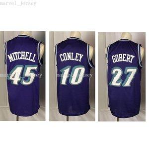 Dikişli Özel 20 Sezon Retro Dağı 45 Mitchell 10 Conley 27 Gobert Jersey Kadın Gençlik Erkek Basketbol Formaları XS-6XL NCAA